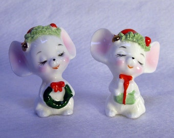 Vintage Napco Bone China Christmas Mice