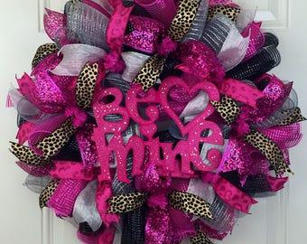 On sale- 15% off- Cheetah Valentine's Wreath, Cheetah Deco Mesh Wreath, Valentines Wreath, Be Mine Valentine's Wreath, Deco Mesh Cheetah Wre