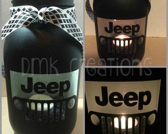 Jeep Grill Painted Mason Jar Tea Light Candle Holder, Jeep Grill, Painted Mason Jar, Tea Light Candle Holder, Jeep, candle holder, wrangler