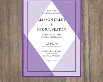 Geometry Wedding Invitation, Triangle Wedding Invitation, Purple Geometry Wedding Invitation, Blue Geometry Wedding Invitation, Geometry