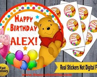 Winnie the Pooh Sticker/Winnie the Pooh Birthday/Winnie the Pooh Invitations/Winnie the Pooh Thank you card/Winnie the Pooh Party supplies
