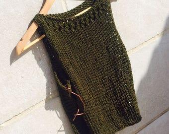 Knit Tank Top , Crochet summer top , knitted tank , Green top , Boho festival , beach fashion , lightweight knit