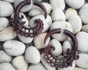 "Fake Gauges, ""Bean Tribal"" Fake Gauge Earrings Hand Carved Earrings Faux Gauge Earrings Wooden Split Earrings Tribal Earrings Wooden Jewelry"
