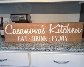 Personalized Kitchen Sign, Rustic Decor, Farmhouse Style Home Decor, Kitchen Decor