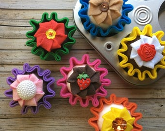 felt cupcake, play food set felt cupcake, play kitchen cake, felt food, cupcake, play cakes