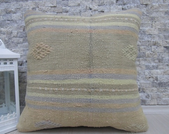 Multi Color Kilim Pillow Cover 18 x 18 Vintage Kilim Pillow Hand made Kilim Pillow Turkish Pillow Decorative Pillow Home Decor Kilim Pillow