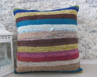 Straight Design Flat Handwoven Kilim Pillow 18x18 Colorful Bohemian Throw Pillow Decorative Bedding Pillow Kilim Cushion Turkey Pillow