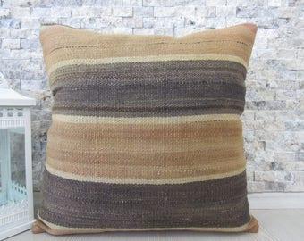 Anatolian Turkish Kilim Pillow Cover 18x18 Kilim Cushion Armchair Pillow Ethnic Pillow Kelim Cushion Rustic Pillow Wool Pillow Cover