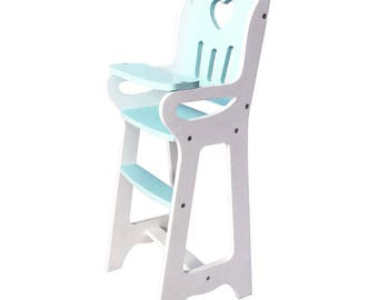 Wooden Doll Highchair (Chair Handmade) - Turquoise