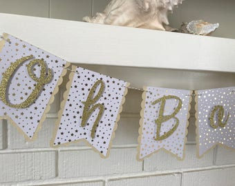 Oh Baby Banner- Twinkle Twinkle Little Star Baby Shower - Gold and White Baby Shower - Neutral Baby Shower Banner