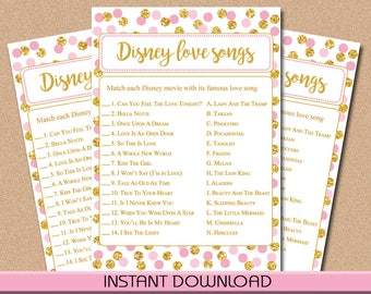 Disney Love Songs Game, Pink and Gold Dots, Baby or Bridal Shower Game, Instant Download, Printable, PDF
