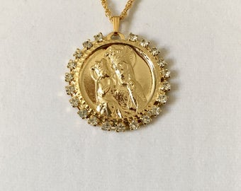 "Vintage religious pendant, Ste. Anne De Beaupre pendant, Patron Saint medallion, Saint Anne medallion, large 1 1/2"" pendant with 3mm CZ gems"