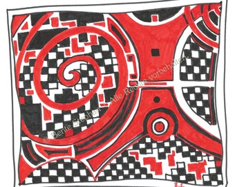 """Greeting card (A6) with envelope, """"Red Warrior"""""""