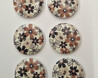 "Set of 6 Wooden Buttons ""Flowers"" 23mm - set di 6 bottoni di legno ""Flowers"" 23mm"