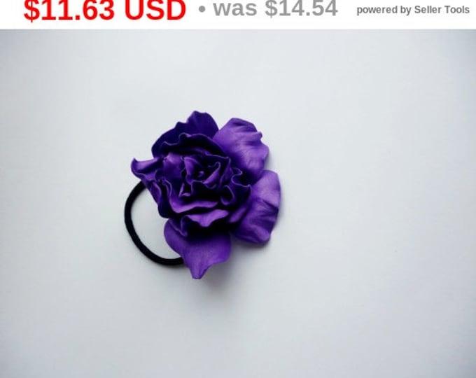 Purple Flower Plum Rose Flower barrette Dark purple Hair Ties Flower Pin Prom Wedding Mom Event Flower Big rose handmade Gift for her floral