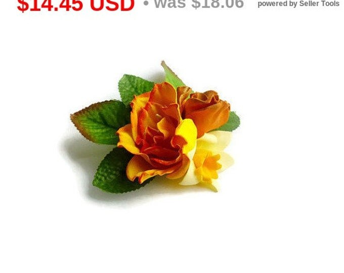 Yellow Orange Gold Green Scrunchy Flower Rose daffodil Handmade Flowers Hair Ties Flower Pin Prom Wedding Bridal Mom Event Gift for her mom