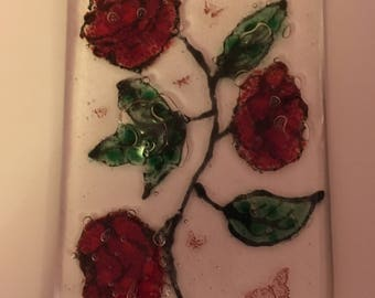 Fused glass wall decoration.