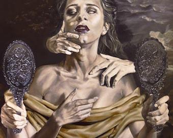 "Vampire Classical Portrait Dark Surrealism Oil Painting Fine Art Print 8.5"" X 11"""