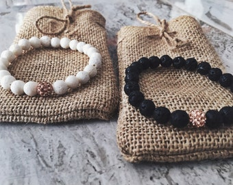 Couples/Relationship/Distance 8mm Natural Stone Beaded Bracelets, Rose Gold Shamballa, Lava and Coral Stone Couple Bracelet