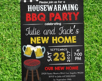 Chalkboard House warming BBQ party printable -  Housewarming BBQ party invitation - Housewarming Downloadable #DPI1243