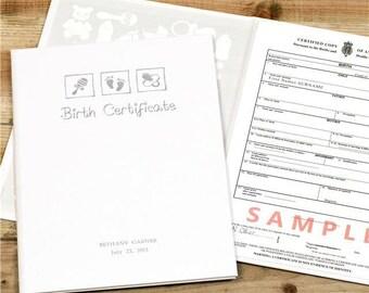 Birth Certificate Presentation Folder