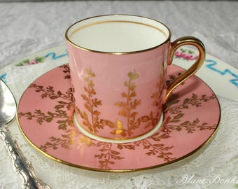 Aynsley, England:  Pink demitasse and saucer