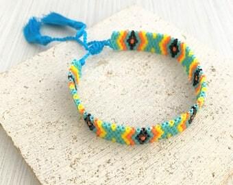 Beaded Bracelet,Native American Bracelet,Tribal Bracelet,Multi Color Beaded Bracelet,Tribal Bead Bracelet,Aztec Bracelet,Turquoise Bracelet