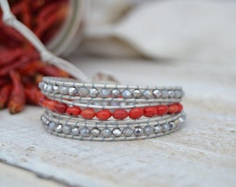 Leather bracelet with crystals and beautiful coral stones