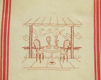 Cafe Restaurant Scene Embroidered Kitchen Tea Towel