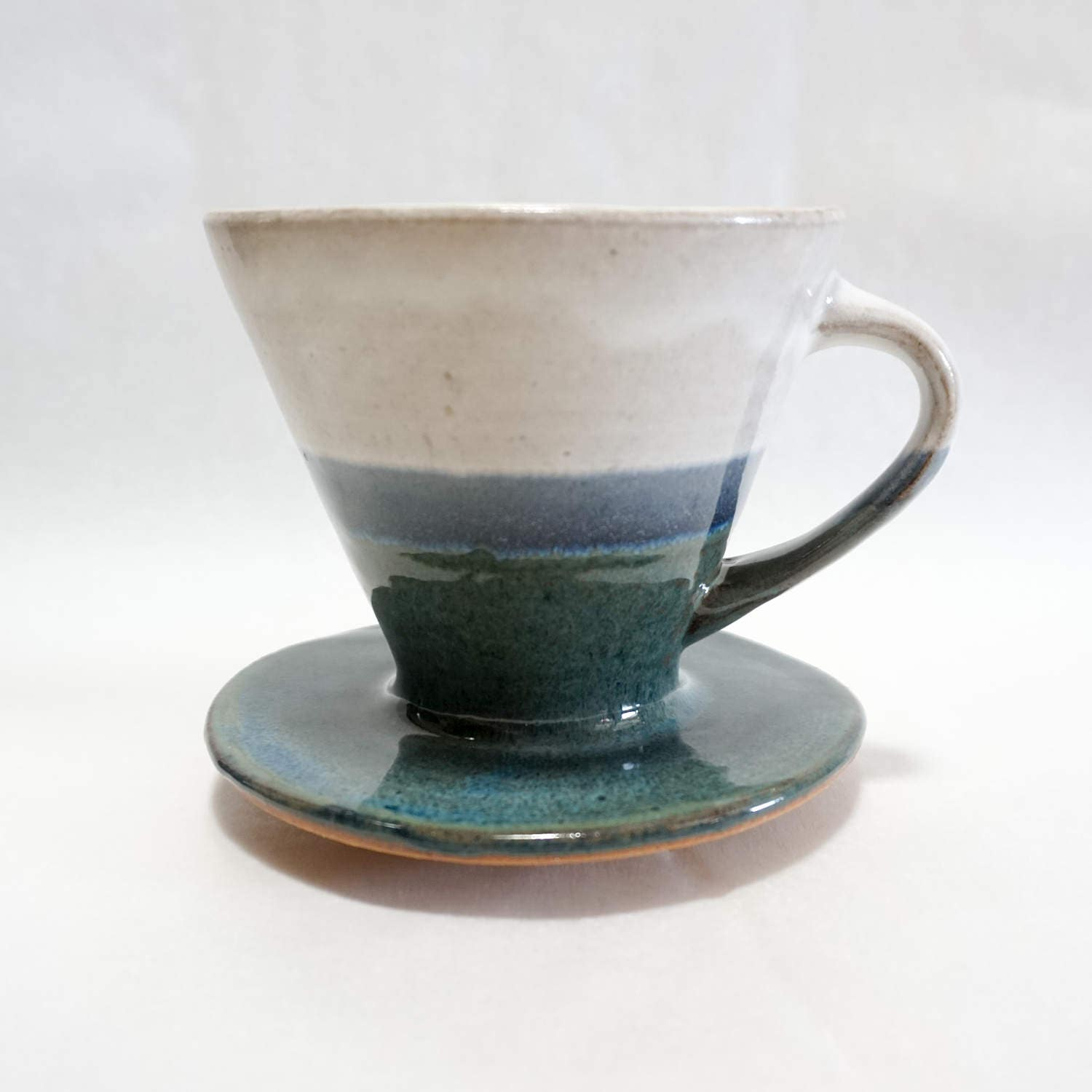 White and Blue Wheel-Thrown Pottery Ceramic Pour Over Coffee