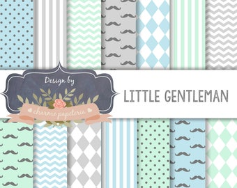 SALE Little Gentleman with blue, mint, gray, mustache, diamond, chevron, Moustaches paper, masculine papers, movember papers