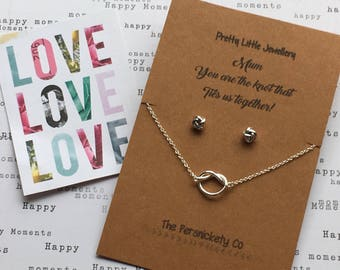 Pretty Little Jewellery - Mum you are the knot that ties us together Necklace & Stud Earrings