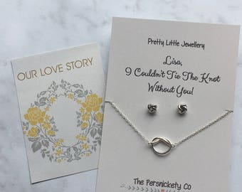 Pretty Little Jewellery - I Couldn't Tie The Knot Without You Necklace & Stud Earrings Set - Can Be Personalised With Any Name!