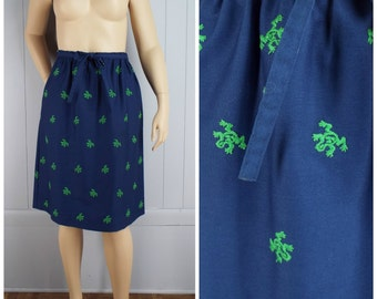 Vintage Womens 1980s Navy A-Line Skirt with Green Embroidered Frogs | Size M/L
