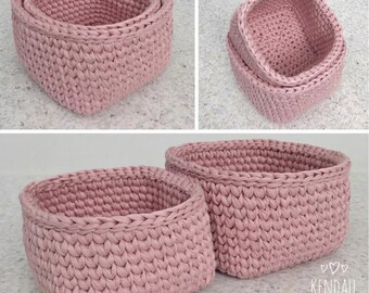 Crochet Baskets (2) Square Dusty Pink