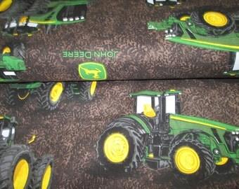 100% cotton fabric John Deere Brown background, cotton fabric john deere sold in half yard