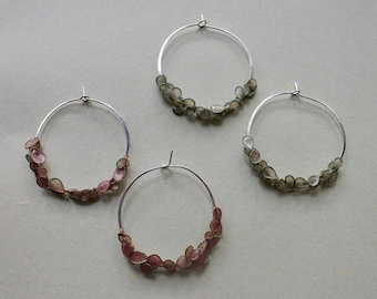 Cherry Blossom Hoops: Cast Handmade Paper on Brass, Hand-Dyed and Sealed, Sterling Silver Hoop Earrings, Wedding, Bridal, Bridesmaid Jewelry