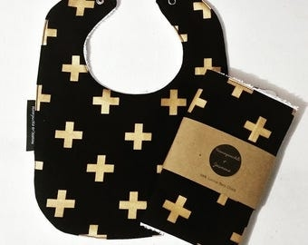 100% Cotton Newborn Bib & Burp Cloth Set - Gold Cross