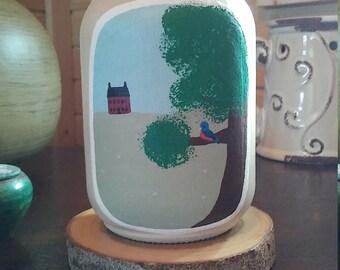 Spring time mason jar hand painted
