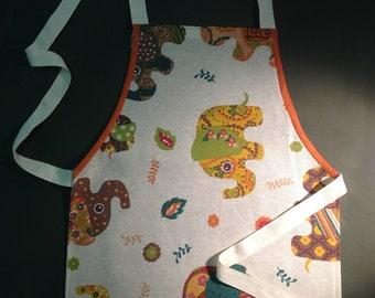 Cute Child Toddler Kid's Handmade Apron in lovely Paisley Elephant Fabric