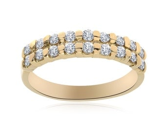 0.50 Carat Round Cut Diamond Womens Wedding Band 14K Yellow Gold