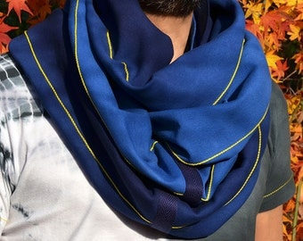Hand dyed and embroidered cowl maxi scarf. Unisex. Loop scarf. Blue. Indigo. Royal blue. Gift. Unique item. Japanese craft. Made in Japan.