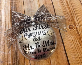 Our First Christmas Ornament, Wedding Ornament, Mr and Mrs Ornament, Gift For Her, Keepsake Ornament, Christmas Gift, Couple Gift