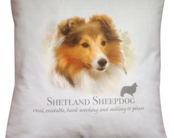 Shetland Sheepdog Sheltie Dog | 100% Cream or White Cotton Cushion Cover with Zip | Perfect Gift
