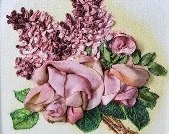 """Silk Ribbon Embroidery Kit with Frame """"Velvet flowers"""""""