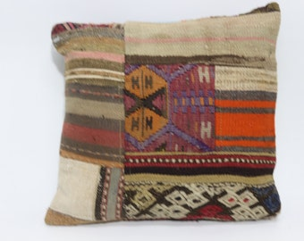 Home Decor Cushion Cover Bed Pillow 20x20 Turkish Kilim Pillow Patchwork Kilim Pillow Ethnic Pillow  SP5050-1169