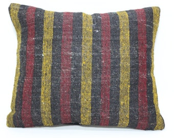 Turkish Striped Pillow Throw Pillow Ethnic Pillow 16x18 Bohemian Kilim Pillow Throw Pillow Sofa Pillow Fllor Pillow Cushion Cover