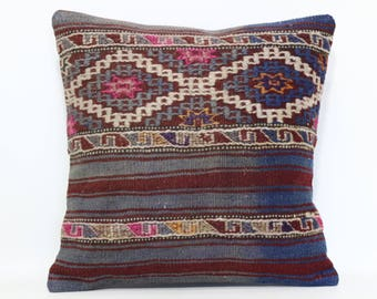Embroidered Kilim Pillow Sofa Pillow 16x16 Vintage Kilim Pillow Decorative Kilim Pillow Home Decor Throw Pillow Cushion Cover SP4040-2423