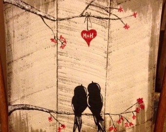 Love birds painted on pallet wood or canvas