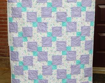 Baby Girl Quilt, Crib Quilt, Purple Quilt, Aqua Quilt, Nursery Decor, Baby Blanket, Modern Baby Quilt